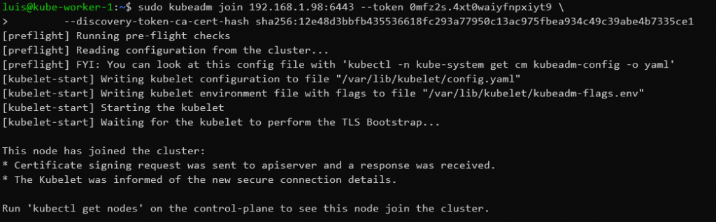 joining cluser on worker node